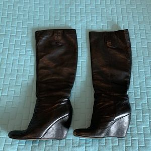 Nine West   Black Leather Wedge Boots